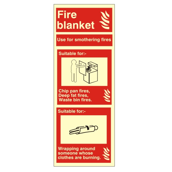 Fire Blanket ID Portrait Signs 80mm x 200mm